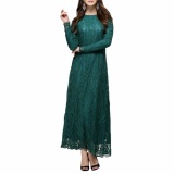 Get Cheap Hequ Muslim Women Long Sleeve Dress Islamic Women Dress Clothing Robe Kaftan Moroccan Fashion Lace Dress Green Intl