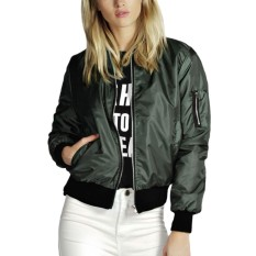 Store Hequ Short Jacket Women Fashion Zipper Jacket Bomber Jacket Slim Womens Jackets Green Intl Hequ On Hong Kong Sar China