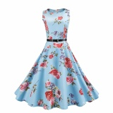 Sale Hequ Vintage Dresses Summer Print Floral 1950S Style Elegant Party Dress Patchwork Sleeveless Dresses Light Blue Intl Hequ Online