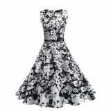 Hequ Vintage Dresses Summer Print Floral 1950S Style Elegant Party Dress Patchwork Sleeveless Dresses White Intl Promo Code