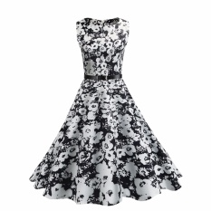 Compare Hequ Vintage Dresses Summer Print Floral 1950S Style Elegant Party Dress Patchwork Sleeveless Dresses White Intl