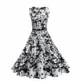 Price Hequ Vintage Dresses Summer Print Floral 1950S Style Elegant Party Dress Patchwork Sleeveless Dresses White Intl Hequ New