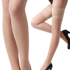 e87e69ecf Hequ Women Fashion Ultrathin Lace Top Sheer Thigh High Silk Stockings Long  punk stockings Nude -