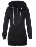 Discount Hequ Women Long Hooded Sweatshirt Coat Casual Pockets Zip Up Outerwear Hoodies Sweat Black Intl Hong Kong Sar China