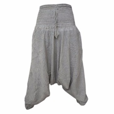 Review Hequ Women Striped Aladdin Light Harem Pants High Elastic Waist Harem Pants Wide Leg Loose Palazzo Pants Intl Hong Kong Sar China