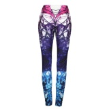 Great Deal Hequ Women Yoga Leggings Mixed Color Digital Print Running Compression Tights Exercise Gym Fitness Workout Training Joggers Trousers Multicolor Intl