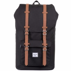 Review Herschel Supply Co Little America Backpack Classic Size Full Volume 25L Black With Tan Leather Singapore