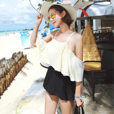Sale Women S Slimming Boat Neckline One Piece Swimwear Black And White Mixed Color Piece Of Black And White Paragraph With Sleeves Piece Of Black And White Paragraph With Sleeves On China