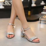 Sequin Silver Summer A Line Sandals 6Cm Silver Paillette For Sale