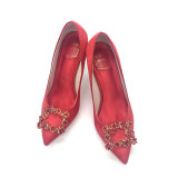 Review 3132 Fine With Square Buckle Small Yards Diamond Satin Red Shoes Red 9 Cm On China