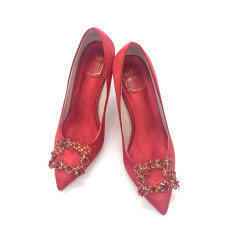 How To Get 3132 Fine With Square Buckle Small Yards Diamond Satin Red Shoes Red 9 Cm