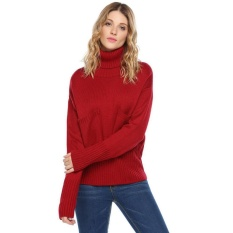 Review High Quality Astar Women Casual Turtle Neck Long Sleeve Thread Hem And Cuffs Solid Pocket Pullover Sweater Intl Not Specified On China