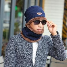 Price Compare High Quality Brand Knit Men S Winter Hat Caps Bonnet Winter Hats For Men Beanie Warm Baggy Knitted Hat And Scarf Navy Intl