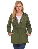 Purchase High Quality Sunweb Women Casual Lightweight Waterproof Raincoat Jacket Hooded Long Sleeve Zipper Green Intl
