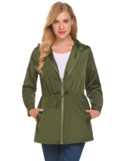 High Quality Sunweb Women Casual Lightweight Waterproof Raincoat Jacket Hooded Long Sleeve Zipper Green Intl Lowest Price