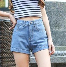 6518cfc6c4cc High waist denim short female summer loose large size retro aa curling wide  leg shorts Color