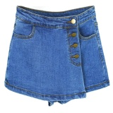 High Waisted Denim Shorts For Women Summer Skorts Skirts Slim Blue Short Jeans Vintage Short Skort Ladies High Quality Sale Intl Sale