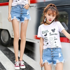 8590d9f39b2e High waisted Denim Shorts White women loose wide leg pants students summer  thin a word size