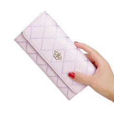 hogakeji New Style Women Lady Leather Clutch Wallet Long PU Card Holder Purse Long Wallet ( Taro Purple ) - intl