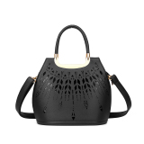Top Rated Hollow Out Pu Leather Tote Bag Ladies Shoulder Bags Handbag Black Intl
