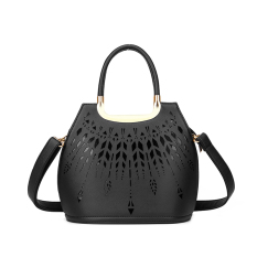 Sale Hollow Out Pu Leather Tote Bag Ladies Shoulder Bags Handbag Black Intl