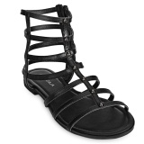 Sales Price Hollow Out Side Zipper Ladies Flat Gladiator Sandals Intl