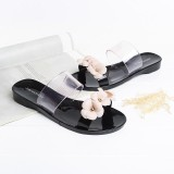 Compare Price Home Ladies Sandals Summer Flower Slippers Women S Wear Camellia Flowers Beach Flat Slippers Flesh Black Intl Oem On China