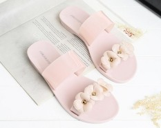 Where To Buy Home Ladies Sandals Summer Flower Slippers Women S Wear Camellia Flowers Beach Flat Slippers Flesh Color Intl