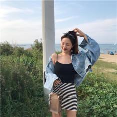 Brand New Hong Kong Flavor Retro Chic Style After Slit Bat Sleeve Denim Jacket Female Autumn And Loose Wild Student Short Paragraph Denim Clothing Light Blue