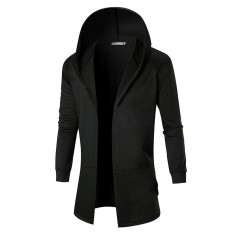 Sale Hooded Outwear Punk Style Fashion Men Black Trench Coat Jacket Casual Overcoat Intl Not Specified On Singapore