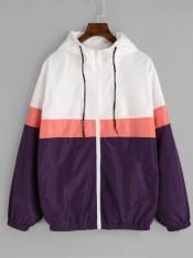 Hooded Tricolor Windbreaker Jacket Intl Free Shipping