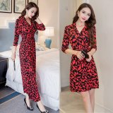 Horse On Behalf Of Slit Length Sleeves Slimming Effect Bohemian Beach Dress Long Section Of Red On China