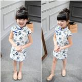 Hot Baby Kids Little G*rl Cotton Dress Trendy Qipao Short Sleeve Chinese Style Cheongsam Clothes Tang Suit Baby Princess Dresses For 2 8T Intl China
