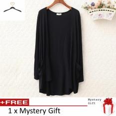 Wholesale Hot Fashion Lady Long Sleeve Cardigan Long Thin Jacket Pocket Black Intl
