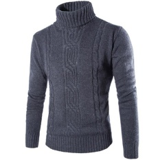 List Price Hot New Fashion Men S Pure Color Pattern High Neck Sweater Grey Intl Oem