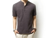 Buy Hot New Solid Polo Shirt Men Casual Mandarin Collar Linen Polo Men Short Sleeve Breathable Polos Plus Size M 3Xl Chinese Style Intl
