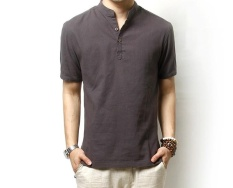 Hot New Solid Polo Shirt Men Casual Mandarin Collar Linen Polo Men Short Sleeve Breathable Polos Plus Size M 3Xl Chinese Style Intl Price