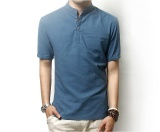 Sale Hot New Solid Polo Shirt Men Casual Mandarin Collar Linen Polo Men Short Sleeve Breathable Polos Plus Size M 3Xl Chinese Style Intl New Brand Branded