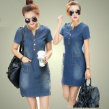 Deals For Hot Sale 2018 New Summer Denim Dress Women Loose Fashion Jean Dress Lady Slim Short Sleeve Plus Size Dress Intl