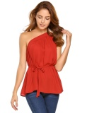 Sale Hot Sale Sunwonder Women Casual Oblique Collar Cold One Shoulder Sleeveless Solid S*xy Chiffon Vest With Belt Red Intl Not Specified On China