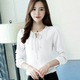 Hot Sale Women Shirts Blouses Beading Lace Bow Long Sleeve Solid Ladies Chiffon Blouse Tops Ol Office Style Chemise Femme White Intl For Sale