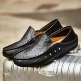 Purchase Hot Selling Men Genuine Leather Casual Shoes Slip On Men Fashion Real Leather Loafers Mens Daily Moccasins Shoes 1881 355 Black Intl Online