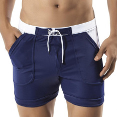 Cheaper Spa Male Boxer Plus Sized Menswear Swimsuit Swimming Trunks Blue