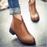 Review Hot Women S Ankle Boots Punk Black Leather Zipper Casual Block Mid Heels Shoes Brown Intl On China