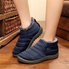 Discount Hot Women S Winter Warm Fabric Fur Lined Slip On Ankle Snow Boots Sneakers Shoes Blue Intl Intl Not Specified On China