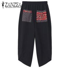 Hot Zanzea 2017 Autumn Women Polka Dot Retro Print Pockets Loose Elastic Waist Cotton Linen Harem Pants Leisure Long Trousers Plus Size Pantalon Black Intl For Sale