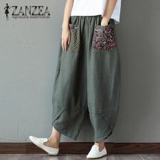 39564cf8990 Hot ZANZEA 2018 Autumn Women Polka Dot Retro Print Pockets Loose Elastic  Waist Cotton Linen Harem