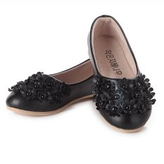 Sales Price I01 Black New Fashion Princess Flowers Girls Shoes Children Cute Leather Shoes Rubber Sole Size 26 36