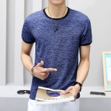 Deals For Men S Korean Style Trendy Slim Fit Round Neck T Shirt Blue Blue