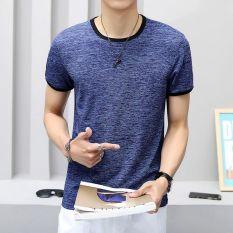 Store Men S Korean Style Trendy Slim Fit Round Neck T Shirt Blue Blue Oem On China